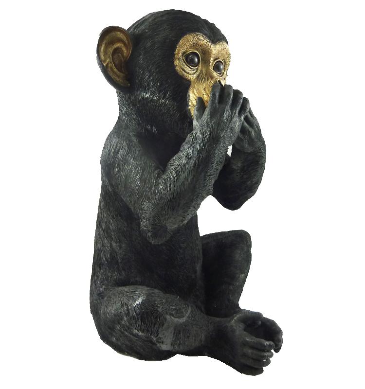Die augen der sich zuhält affe Affe hält